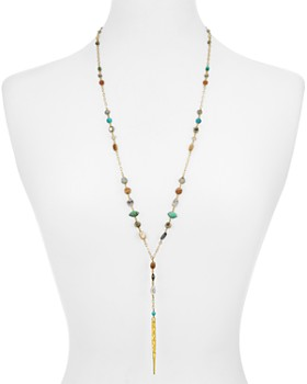 """Chan Luu - Mixed-Stone Dagger Pendant Lariat Necklace in 18K Gold-Plated Sterling Silver, 29"""""""