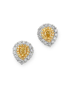 Bloomingdale's - Pear Shaped Yellow & White Diamond Stud Earrings in 18K White & Yellow Gold - 100% Exclusive