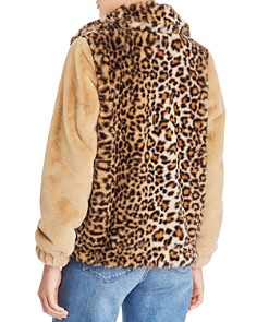 Vigoss - Leopard Detail Faux Fur Bomber Jacket