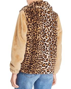 Vigoss - Leopard Detail Faux Fur Bomber Jacket
