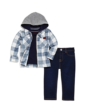 7 For All Mankind Boys Flannel Jacket Pocket Tee  DarkWash Jeans Set  Baby