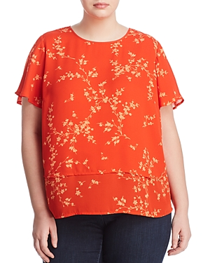 Vince Camuto Plus Tiered Botanical-Print Blouse