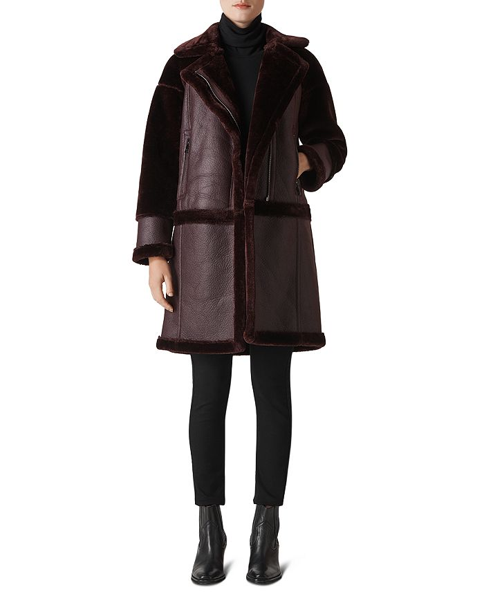 Whistles - Faux-Shearling Biker-Style Coat