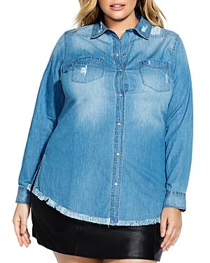 City Chic Plus Distressed Denim Shirt