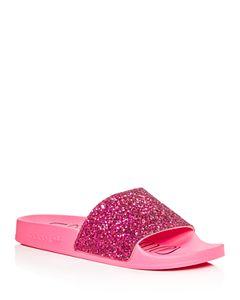 70e0e673b517 Adidas Women s Adilette Comfort Glitter 3-Stripe Pool Slide Sandals ...