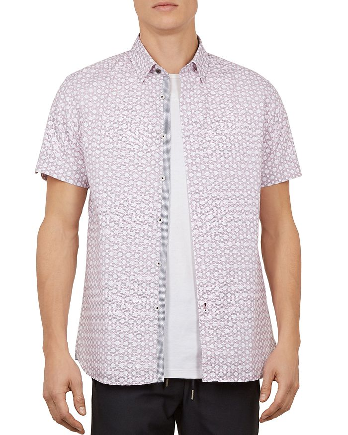 Ted Baker - Enyone Hex Line-Print Slim Fit Shirt