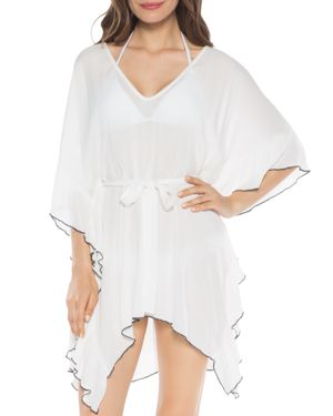 ISABELLA ROSE Crinkle Time Tunic Swim Cover-Up in White