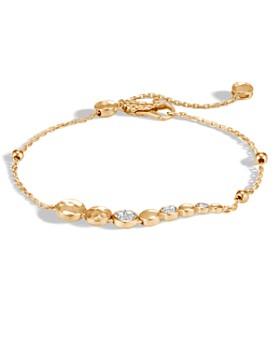 JOHN HARDY - 18K Yellow Gold Dot Hammered Pull-Through Bracelet with Pavé Diamond