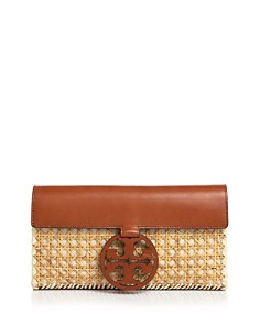 Tory Burch - Miller Rattan & Leather Clutch