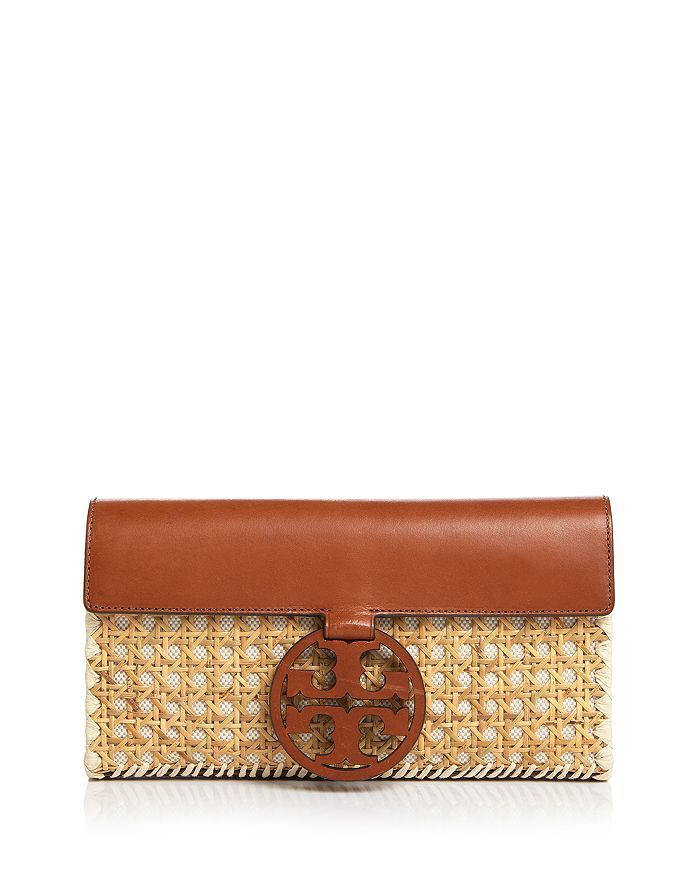 bd4638dee96c Tory Burch - Miller Rattan   Leather Clutch