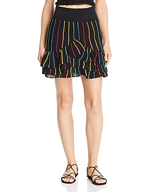 Place Nationale Saint-Quentin Embroidered Candy Stripe Mini Skirt
