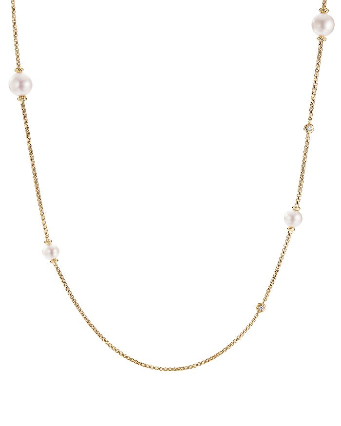 David Yurman - Pearl Cluster Chain Necklace in 18K Yellow Gold with Diamonds, 36""