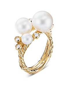 David Yurman - Pearl Cluster Ring in 18K Yellow Gold with Diamonds