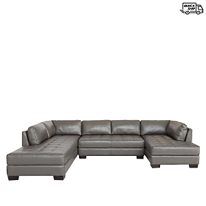 Finished with a tufted seat and set on block feet, this eye-catching sectional from Chateau d\\\'Ax features a generous seat and plush cushioning that make it a cozy addition to any interior.
