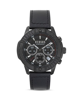 Versus Versace - Admiralty Black Leather Strap Chronograph, 44mm
