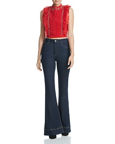 Alice and Olivia - Gwen Ruffled Embellished Cropped Top