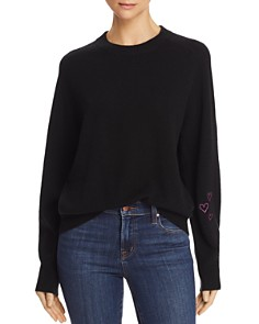 AQUA - Cashmere Heart Embroidered Sweater - 100% Exclusive