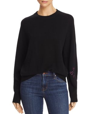 AQUA Cashmere Heart Embroidered Sweater - 100% Exclusive in Black