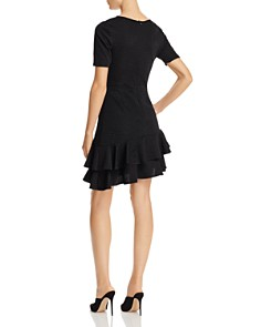 AQUA - Textured Asymmetric Tiered Hem Dress - 100% Exclusive