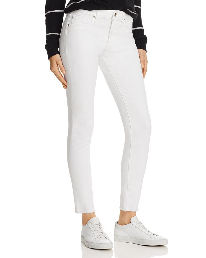 AQUA - Frayed Skinny Jeans in White - 100% Exclusive