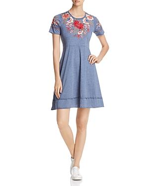 Johnny Was Burke Short-Sleeve Floral-Embroidered Dress