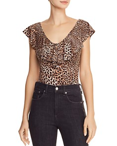 Little Black Bodysuit - Ruffled Leopard-Print Bodysuit