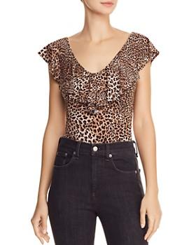 94533c039a Little Black Bodysuit - Ruffled Leopard-Print Bodysuit ...