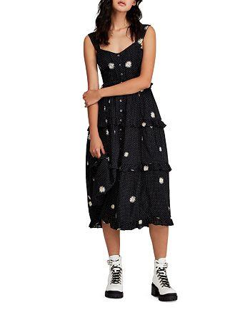 Free People - Daisy Chain Embroidered Ruffled Midi Dress