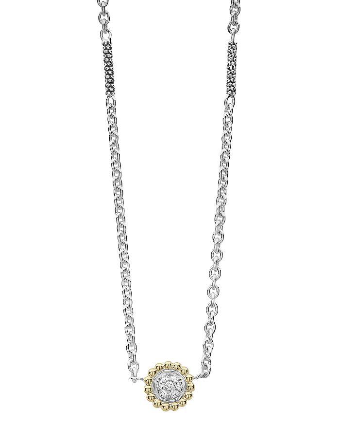 "LAGOS - LAGOS 18K Gold and Diamond Caviar Pendant Necklace, 16"""