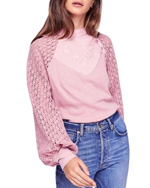 Free People Sweetest Thing Crochet-Sleeve Top