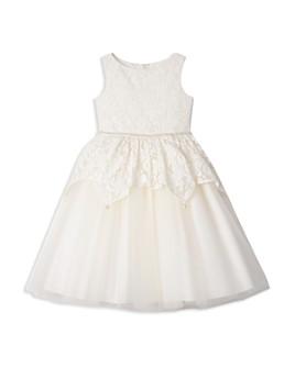Badgley Mischka - Girls' Embellished Lace Peplum Dress - Big Kid