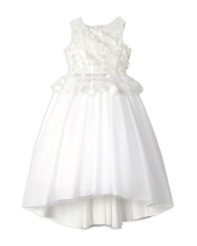 Badgley Mischka - Girls' Floral Appliqué Peplum Dress - Big Kid