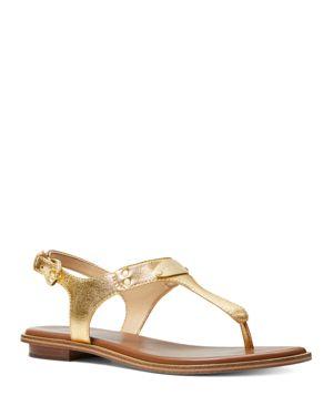 Michael Michael Kors Women's Logo Plate Metallic Leather Thong Sandals