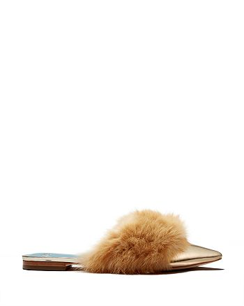 Frances Valentine - x Darcy Miller Women's Paloma Pointed Toe Rabbit Fur & Leather Mules - 100% Exclusive