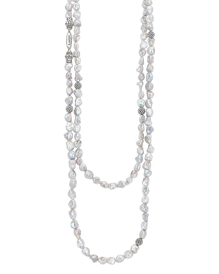 """LAGOS - Sterling Silver Luna Keshi Pearl Double-Strand Necklace, 35"""""""