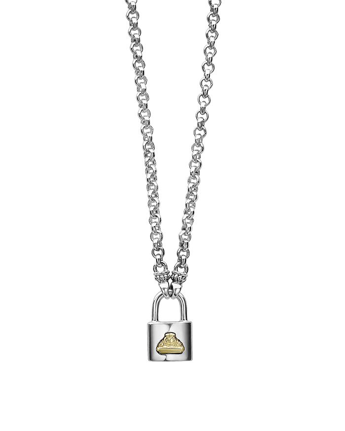 LAGOS - Sterling Silver & 18K Yellow Gold Beloved Lock Pendant Necklace, 18""