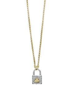 "LAGOS - 18K Yellow Gold Beloved Diamond Lock Pendant Necklace, 18"""
