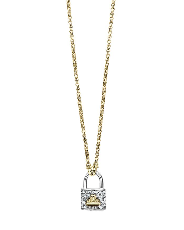Lagos 18K YELLOW GOLD BELOVED DIAMOND LOCK PENDANT NECKLACE, 18