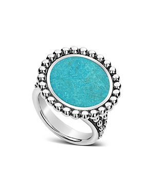 Lagos Accessories STERLING SILVER MAYA TURQUOISE CIRCLE RING