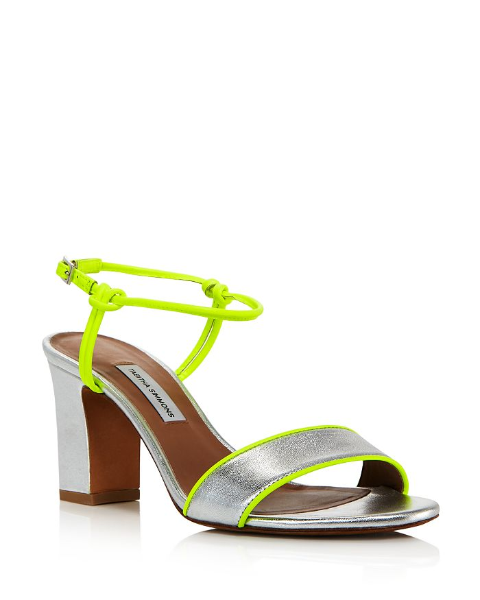 Tabitha Simmons WOMEN'S BUNGEE NEON & METALLIC BLOCK HEEL SANDALS