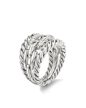David Yurman - Wellesley Link Three-Row Ring with Diamonds