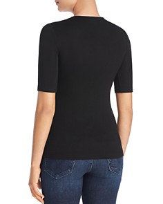 Three Dots - Luxe Elbow-Sleeve Ribbed Top
