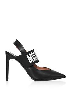 Moschino - Women's Logo Leather Slingback Pumps