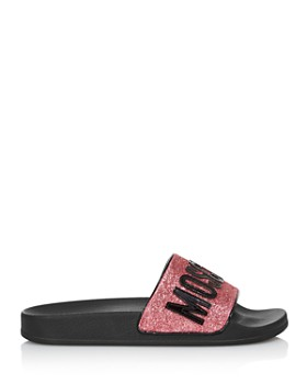 Moschino - Women's Glitter Logo Slide Sandals