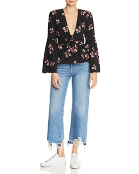 BB DAKOTA - Go With The Floral Tie-Front Top - 100% Exclusive