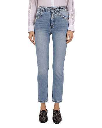 The Kooples - Studded Slim Jeans in Blue