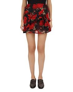 The Kooples - Rose Print Ruffle Silk Mini Skirt