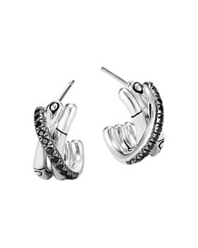 JOHN HARDY - Sterling Silver Bamboo Black Sapphire & Black Spinel J-Hoop Earrings