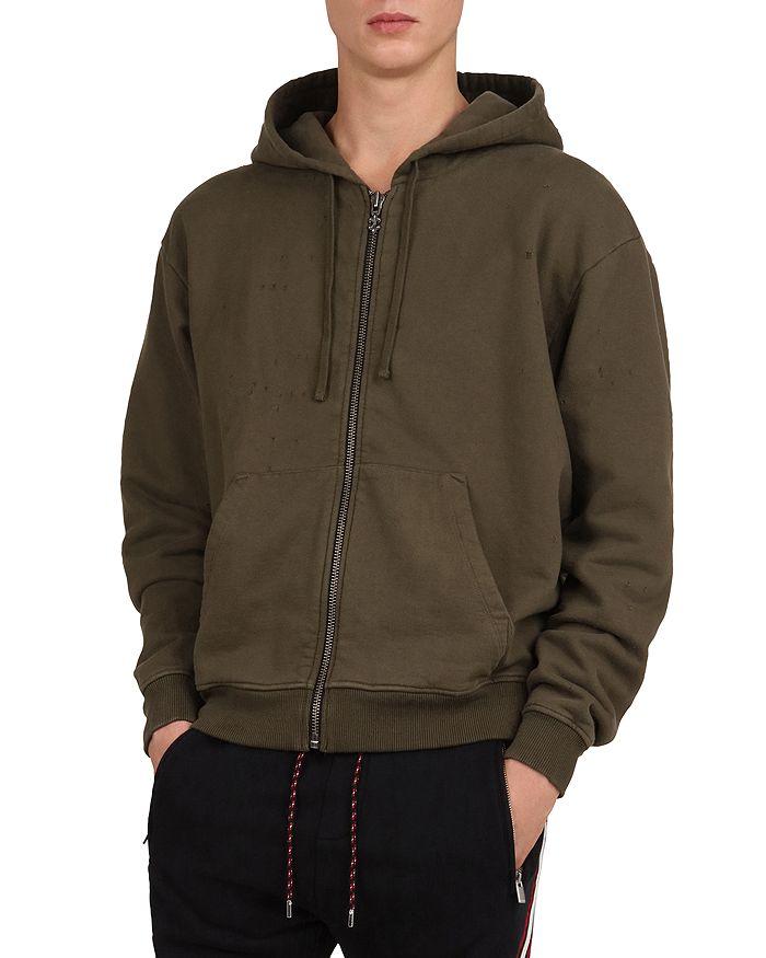 The Kooples - Destroyed Zip-Front Hooded Sweatshirt