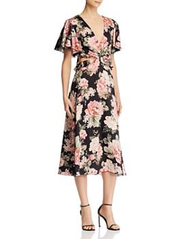 Divine Heritage - Floral Flutter Sleeve Dress